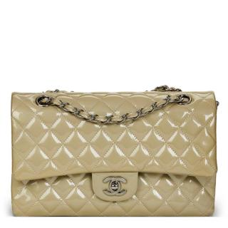 Chanel Olive Quilted Patent Leather Double Flap Bag