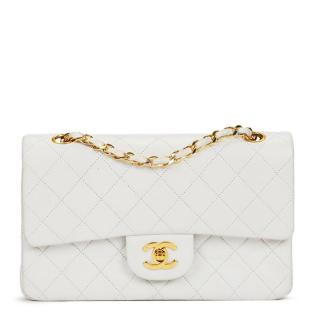 Chanel White Quilted Lambskin Vintage Double Flap Bag