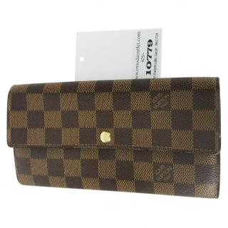 Louis Vuitton Portefeuille Sarah N61734 Brown Damier Ebene Wallet