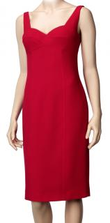 Laurel fine wool red strappy cocktail dress