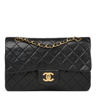Chanel  Small Black  Vintage Quilted Lambskin Classic Double Flap Bag