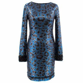 Jenny Packham Long Sleeved Blue Sequin Dress