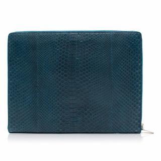 Alexander Mcqueen Blue Python Laptop Case