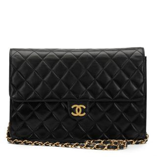 Chanel Vintage Black Quilted Lambskin Single Flap Bag