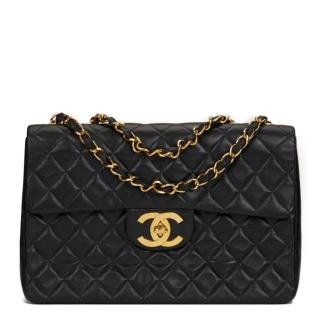 Chanel Vintage  Black Quilted Lambskin Maxi Jumbo XL Flap Bag