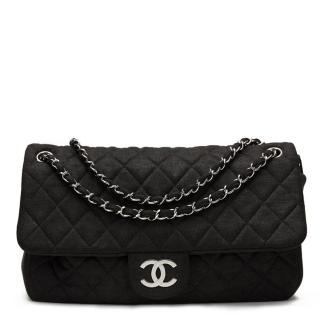 Chanel Black Fabric  Quilted Single Flap Bag