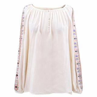 Tory Burch Linen Embroidered Sleeves Top
