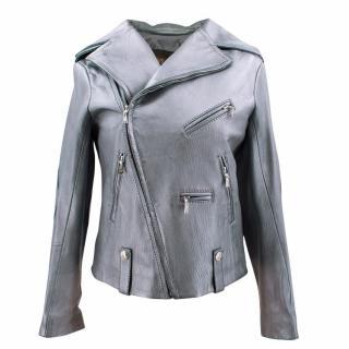 Louis Vuitton SIlver Biker Leather Jacket