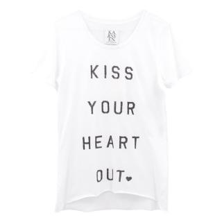 Zoe Karssen 'Kiss Your Heart Out' White Cotton T- Shirt