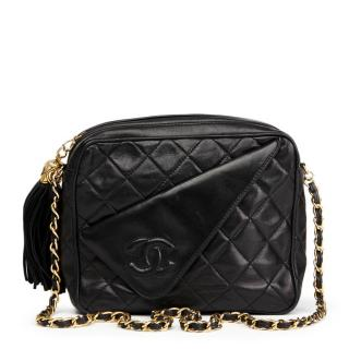 Chanel Black Quilted Lambskin Tassel Camera Bag