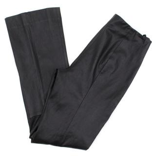 The Row Black Lambskin Straight- Leg Pants