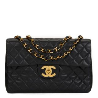 Chanel Black Quilted Lambskin Jumbo XL Flap Bag