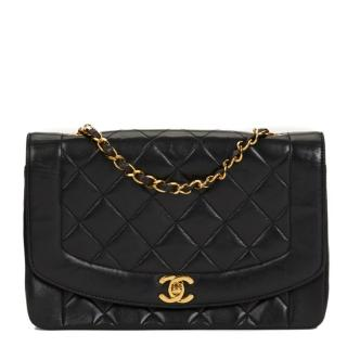 Chanel Black Quilted Lambskin Diana Single Flap Bag