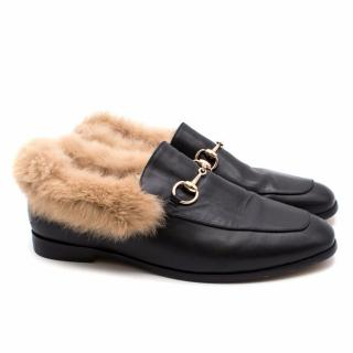 Gucci Jordan Fur-Lined Leather Loafers