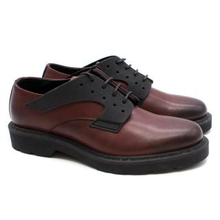 Alexander McQueen Burgundy and Black Leather Brogues