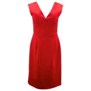 Jonathan Saunders Red Plunge V- neck Silk Dress