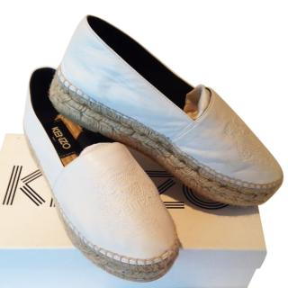 Kenzo White Leather Espadrilles