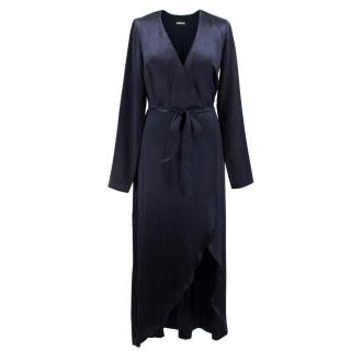 Reformation Navy Silk Marni Wrap Dress