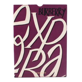 Burberry Purple Pattern Calf Grain Leather I Pad Case