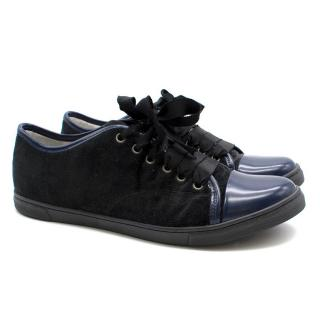 Lanvin Navy Blue Velvet Sneakers