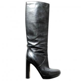 GUCCI black knee-high leather platform boots