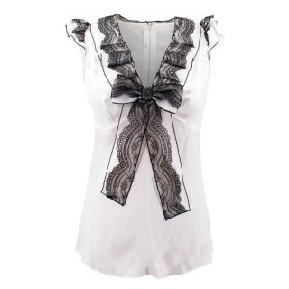 Dolce & Gabbana White and Black Silk Lace Bow Top