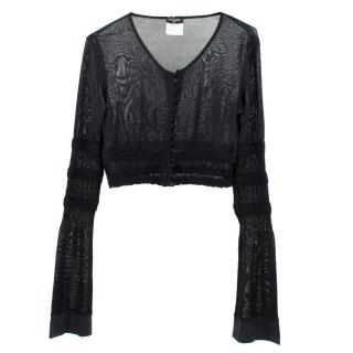 Chanel Black Cardigan with Flared Sleeves