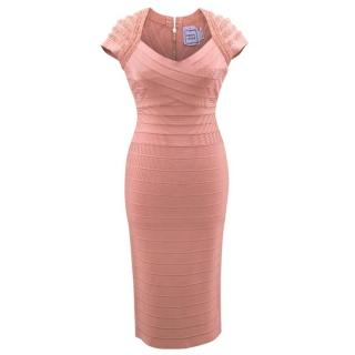 Herve Leger Pink Embellished Short- sleeve Dress