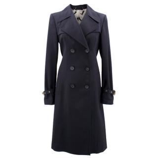 Gucci Double Breasted Navy Trench Coat