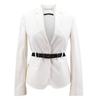 Gucci White Cotton Blazer with Black Waist Belt