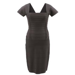 Herve Leger Brown Ribbed Dress