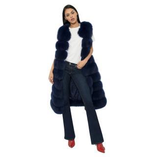 Bespoke Blue Fox Fur Vest- Coat