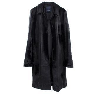 'S MaxMara Black Pony Hair Long Coat