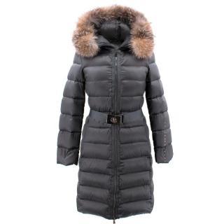 Moncler Grey Long Coat with Fur Hood