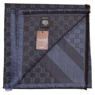gucci scarf blu/caffe new