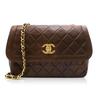 Chanel Brown Quilted Leather Cross body Bag