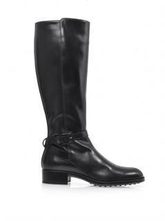 Tod's knee high flat riding boot black