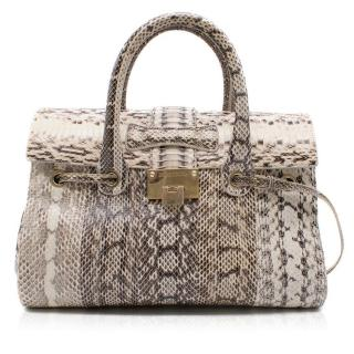 Jimmy Choo Cream and Grey Python Top Handle/Shoulder Bag