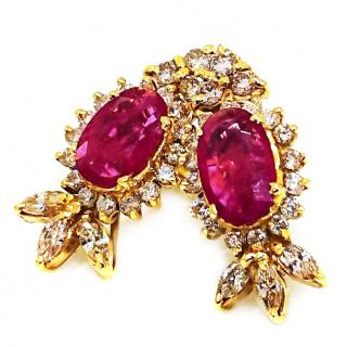 Ruby & Diamond amazing cluster earrings 18ct Gold