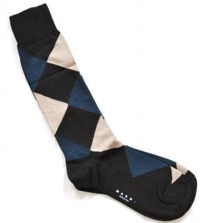 Marni Black-blue-gold Cotton Blend Socks