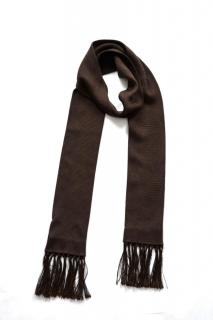 Dolce & Gabbana fringed  dark brown silk skinny scarf
