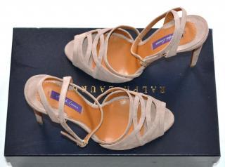 RALPH LAUREN COLLECTION Runway Rose Suede Sandals