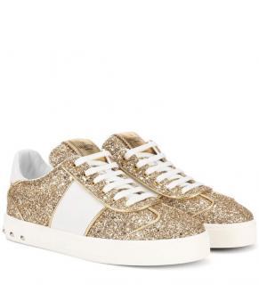 Valentino Flycrew Gold Glitter sneaker size 39.5