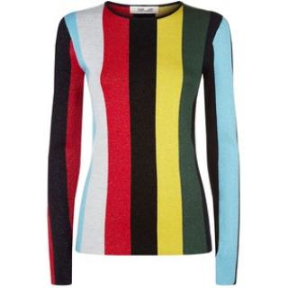 Diane Von Furstenberg  long sleeve crew neck metallic striped top