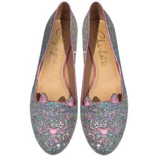 Charlotte Olympia  Silver and Rose Glitter Kitty Flats