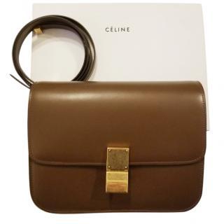 Celine Brown Calfskin Leather Cross Body Bag