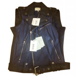 Pierre Balmain Black Navy Sleeveless Biker Leather Jacket Size S