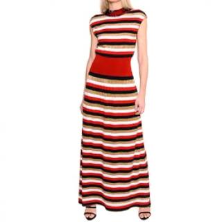 Sonia Rykiel Red Striped Knit Maxi Dress. Size S.