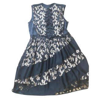 Sonia Rykiel Black Floral Lace Dress Size UK 16.