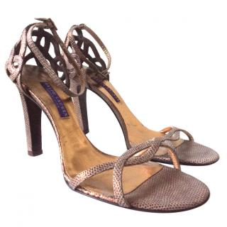 Ralph Lauren bronze snake effect sandals